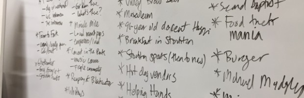 A look at the board after story pitching for the Introduction to Multimedia class.