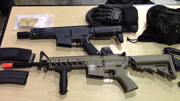 Airsoft Rifles (1): Airsoft rifles fire 6mm plastic BBs. They are usually powered by gas or an electric motor.